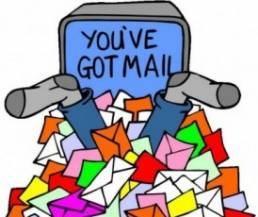 A cartoon drawing of a pile of mail