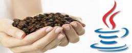 Coffee beans and Java logo